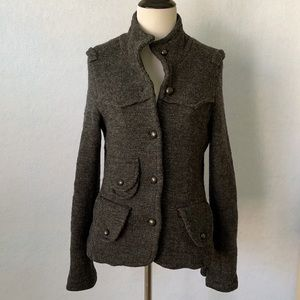 Free People Lambswool Jacket Charcoal Gray/Red